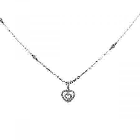 White Gold Diamond By Yard Heart Pendant Necklace