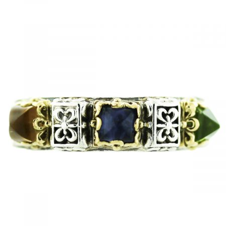 Konstantino Multi Stone Ring Yellow Gold Sterling Silver
