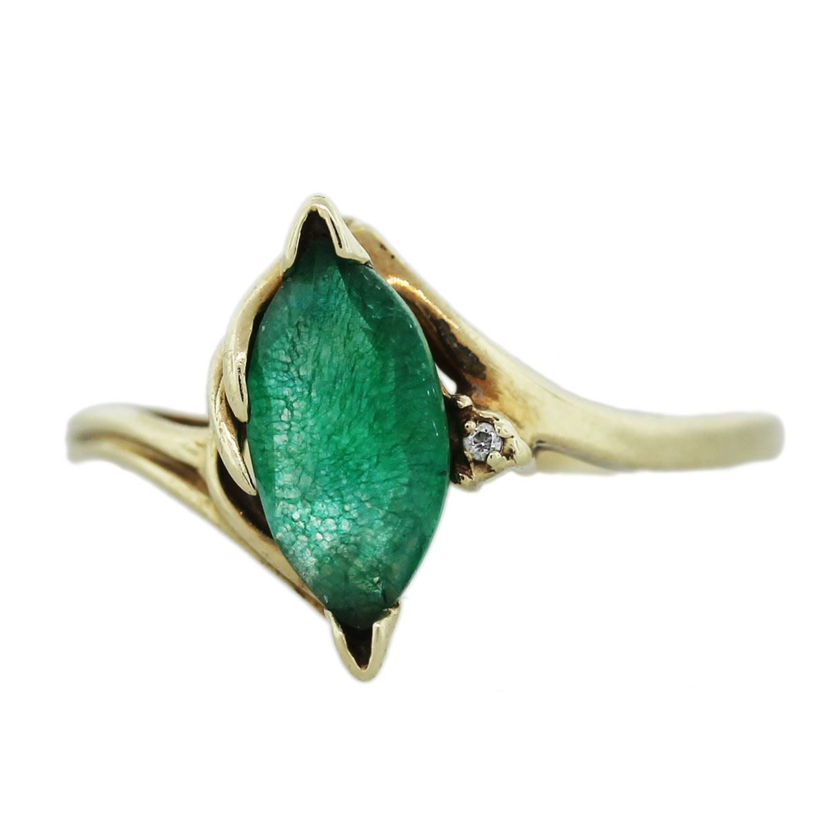 marquise emerald green color crackle quartz ring in yellow