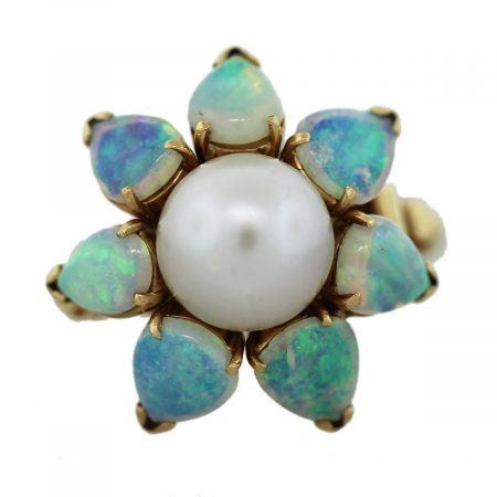 Opal Pearl Gold Ring