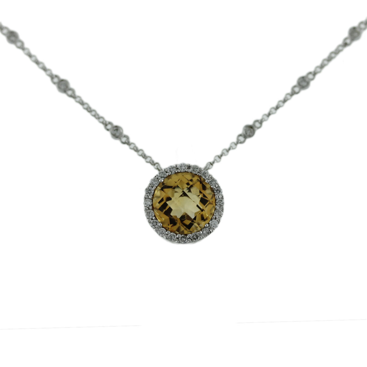 White Gold Citrine Pendant