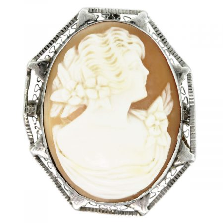 White Gold Shell Broach