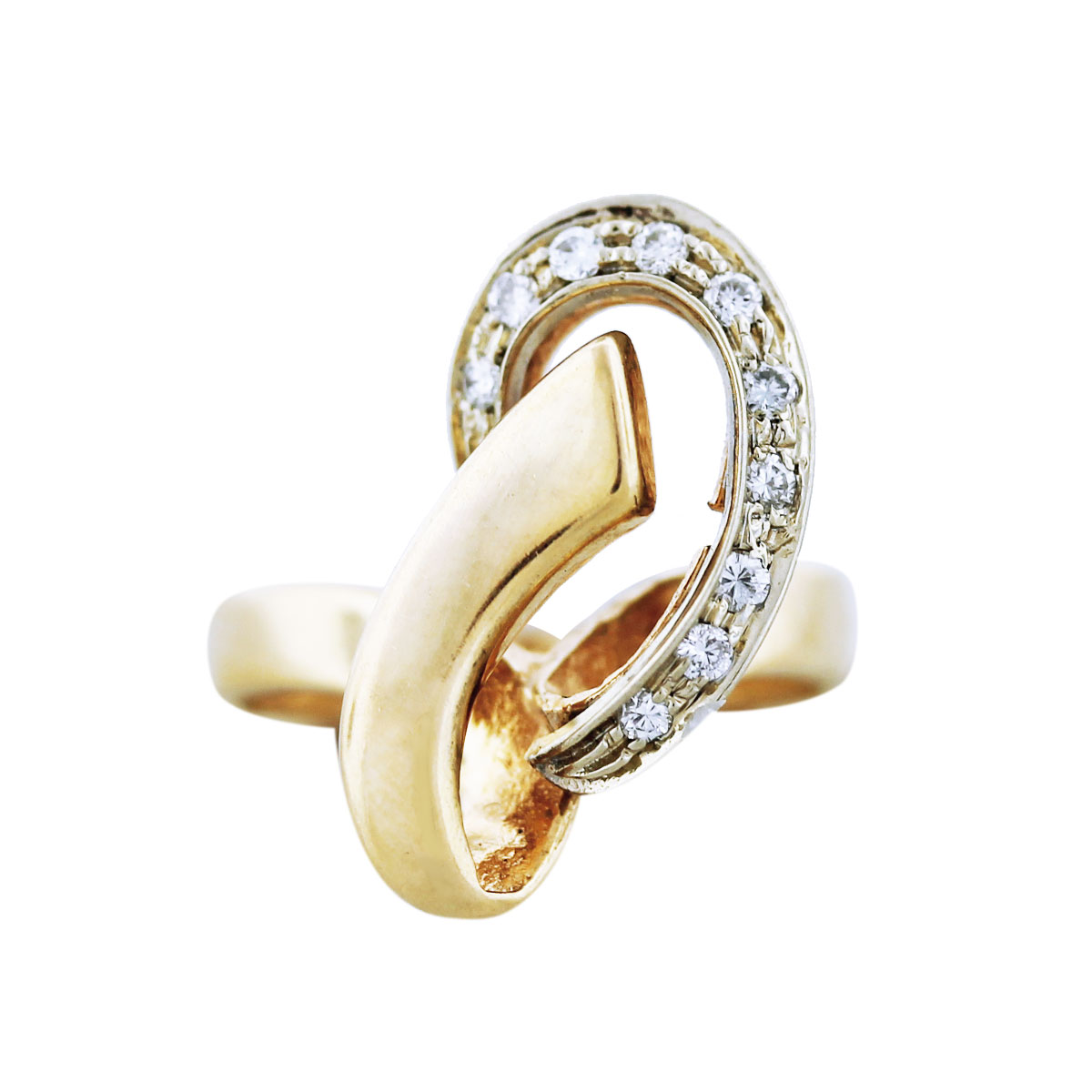 gold diamond loop ring