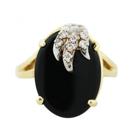 14k Two Tone Gold Black Onyx and Diamond Cocktail Ring