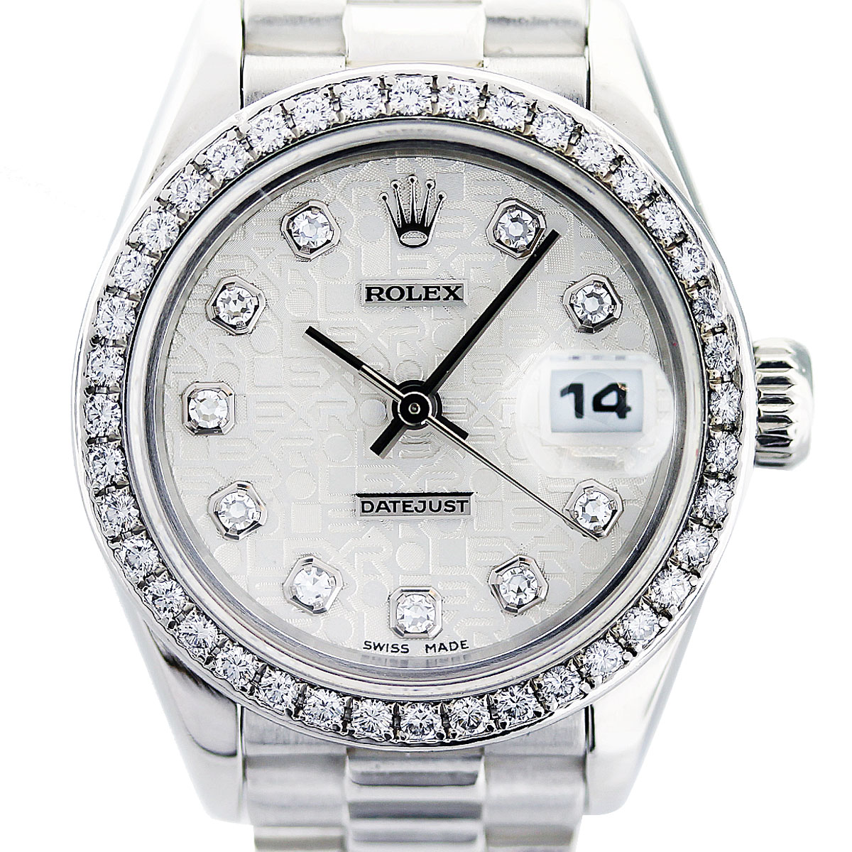 rolex platinum diamond ladies watch boca raton