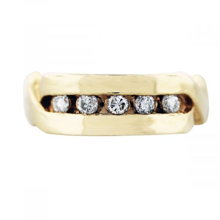 gold diaond x band ring