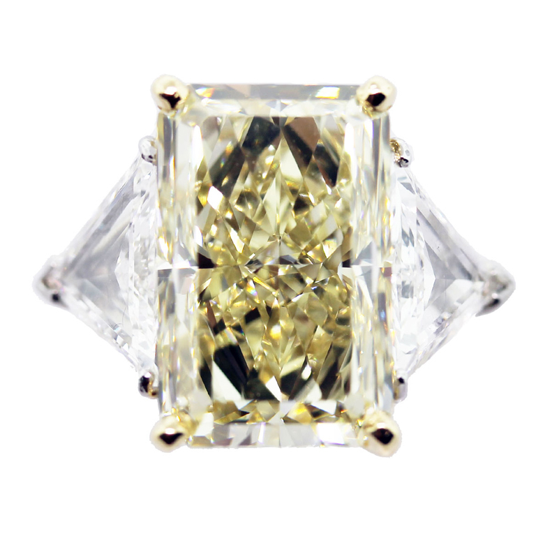 fancy yellow radiant cut diamond engagement ring