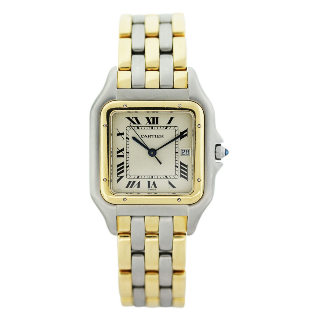 cartier panther 3 row 18k gold and stainless steel