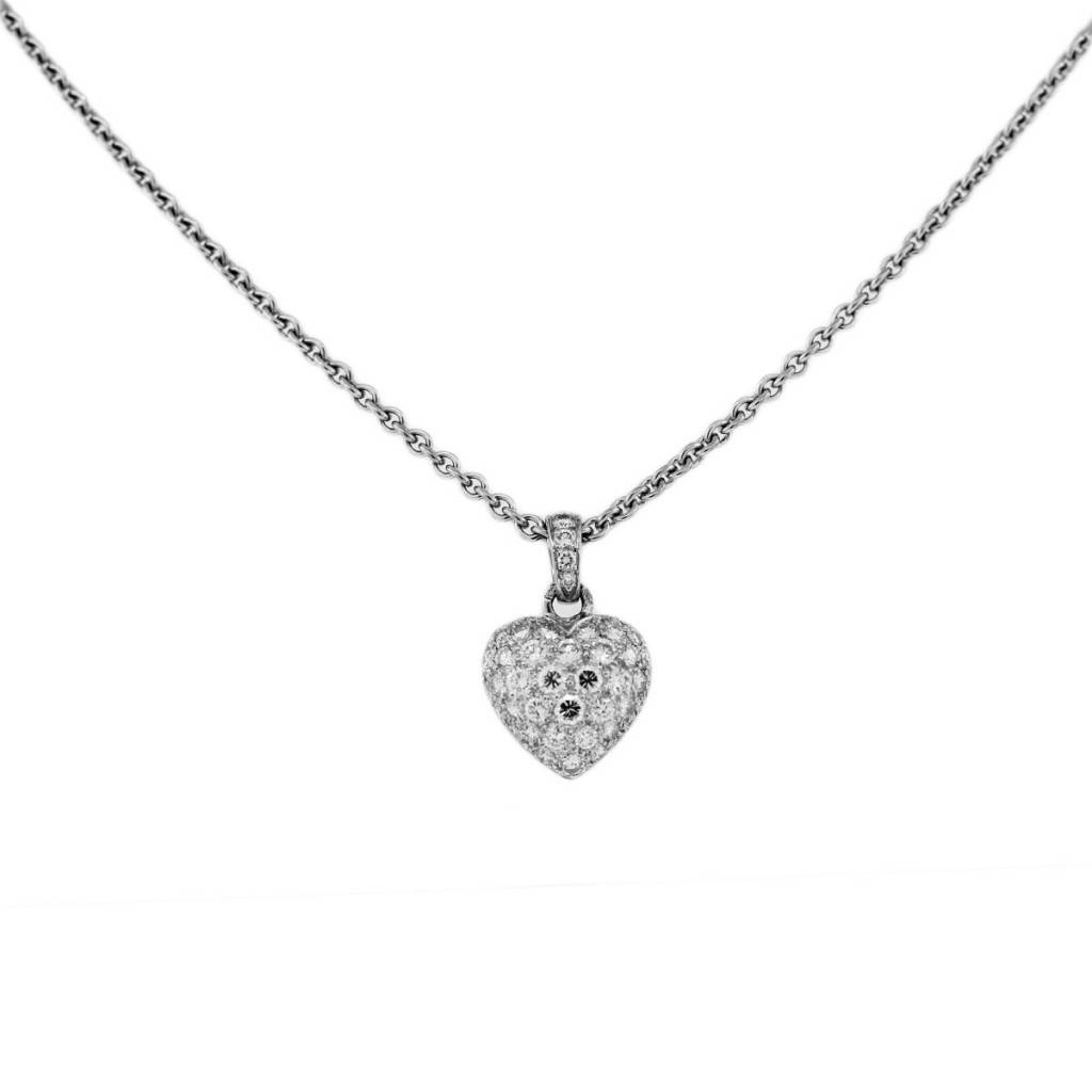 b6a72578ae0 18k White Gold Cartier Diamond Heart Necklace. product_image