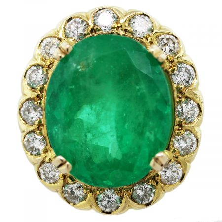 18k Yellow Gold 19ct Oval Emerald Diamond Ring
