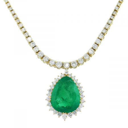 Pear Cut Emerald Diamond Pendant Necklace
