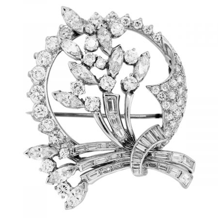 diamond flower pin in platinum