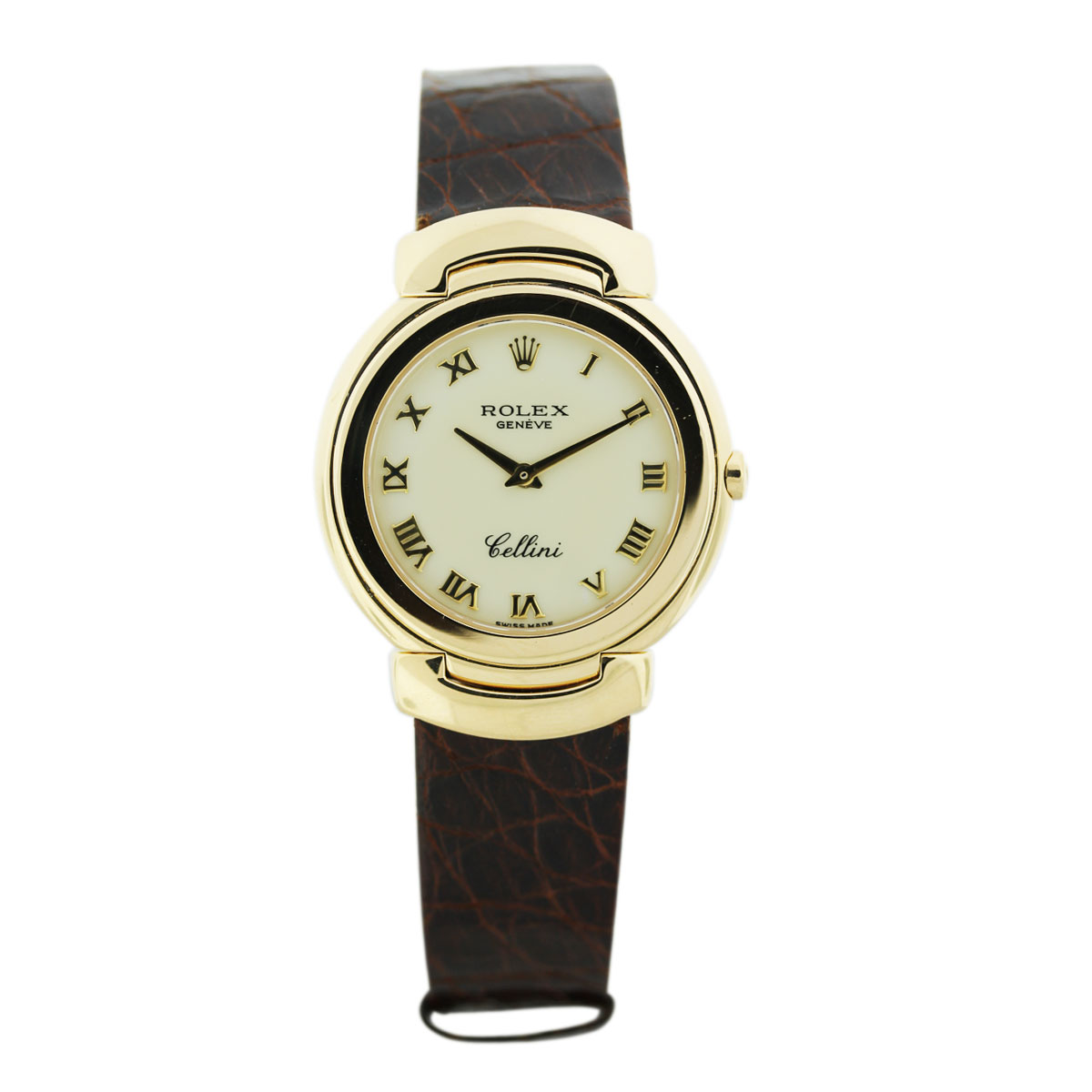 Rolex cellini 18k yellow gold cream dial on leather strap boca raton for Rolex cellini