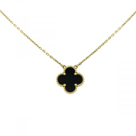 Van Cleef and Arpels Single Alhambra Onyx Necklace