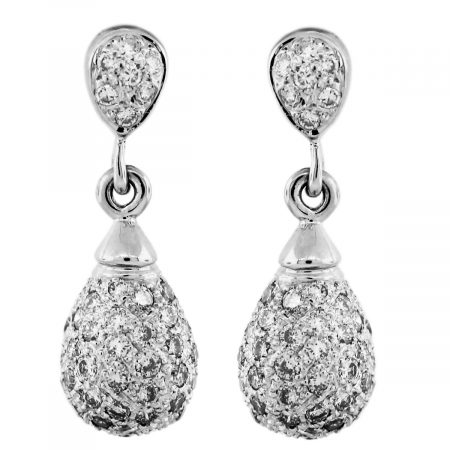 14k White Gold Pave Diamond Drop Dangle Earrings