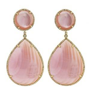 14k Yellow Gold Pink Mother of Pearl Diamond Earrings