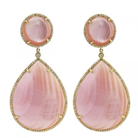 Pink Pearl Yellow Gold Earrings