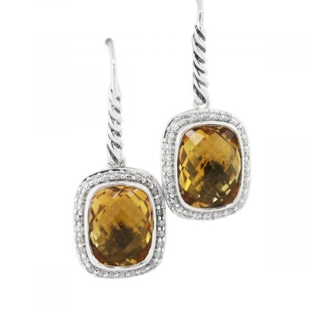 David Yurman Citrine Noblesse Diamond Earrings