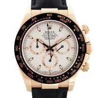 Rolex Daytona 116515 Rose Gold Ivory Dial Leather Strap Mens Watch