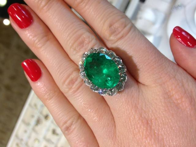 emerald cocktail ring, emerald ring, emerald and diamond ring, boca raton cocktail ring