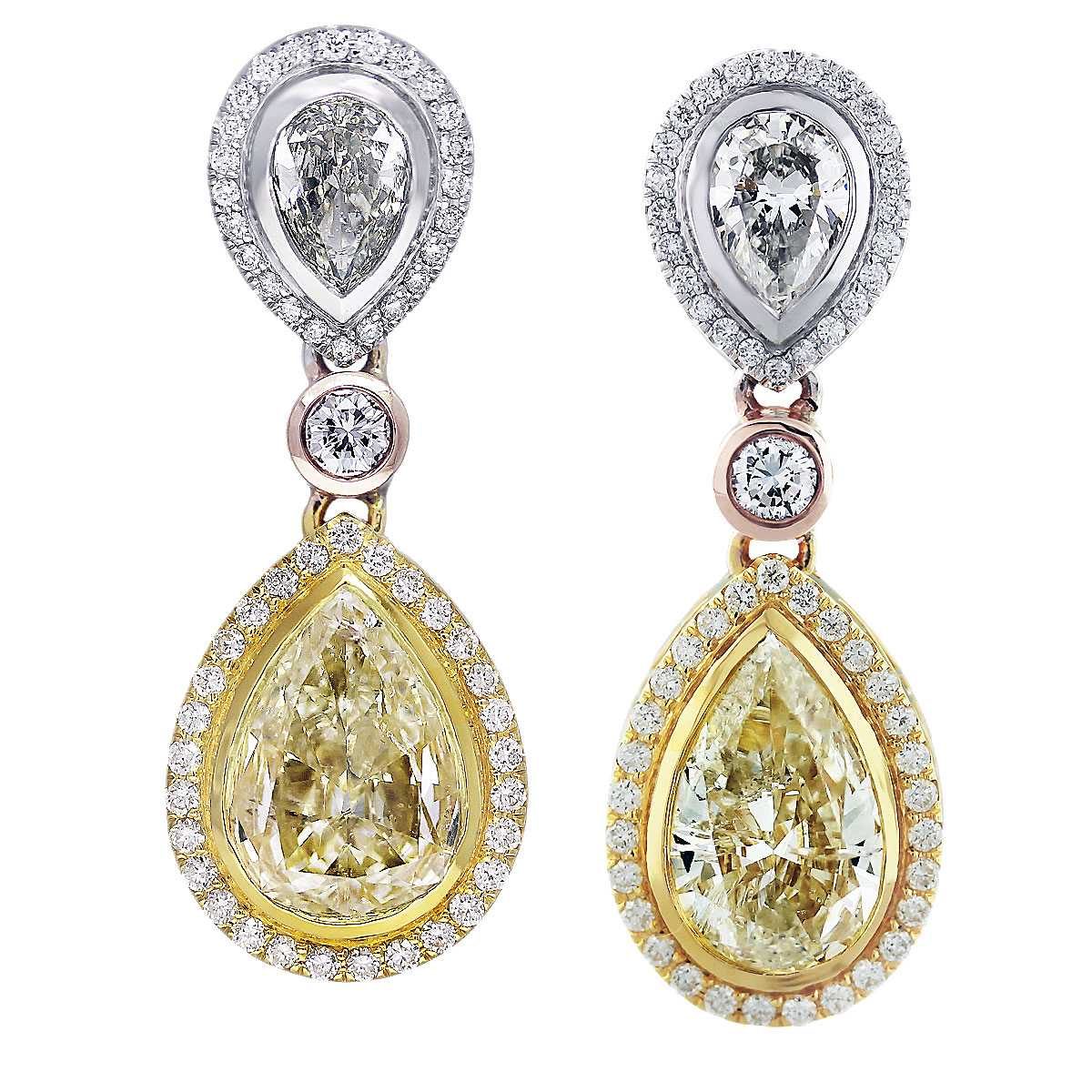 yellow diamond drop earrings pear shape