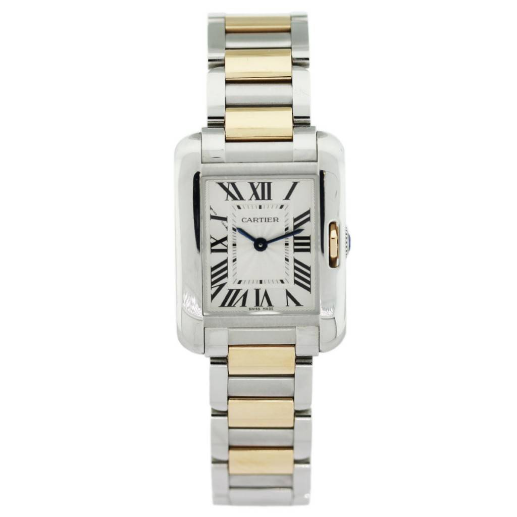 cartier ladies tank anglaise stainless steel 18k pink gold w5310019. Black Bedroom Furniture Sets. Home Design Ideas