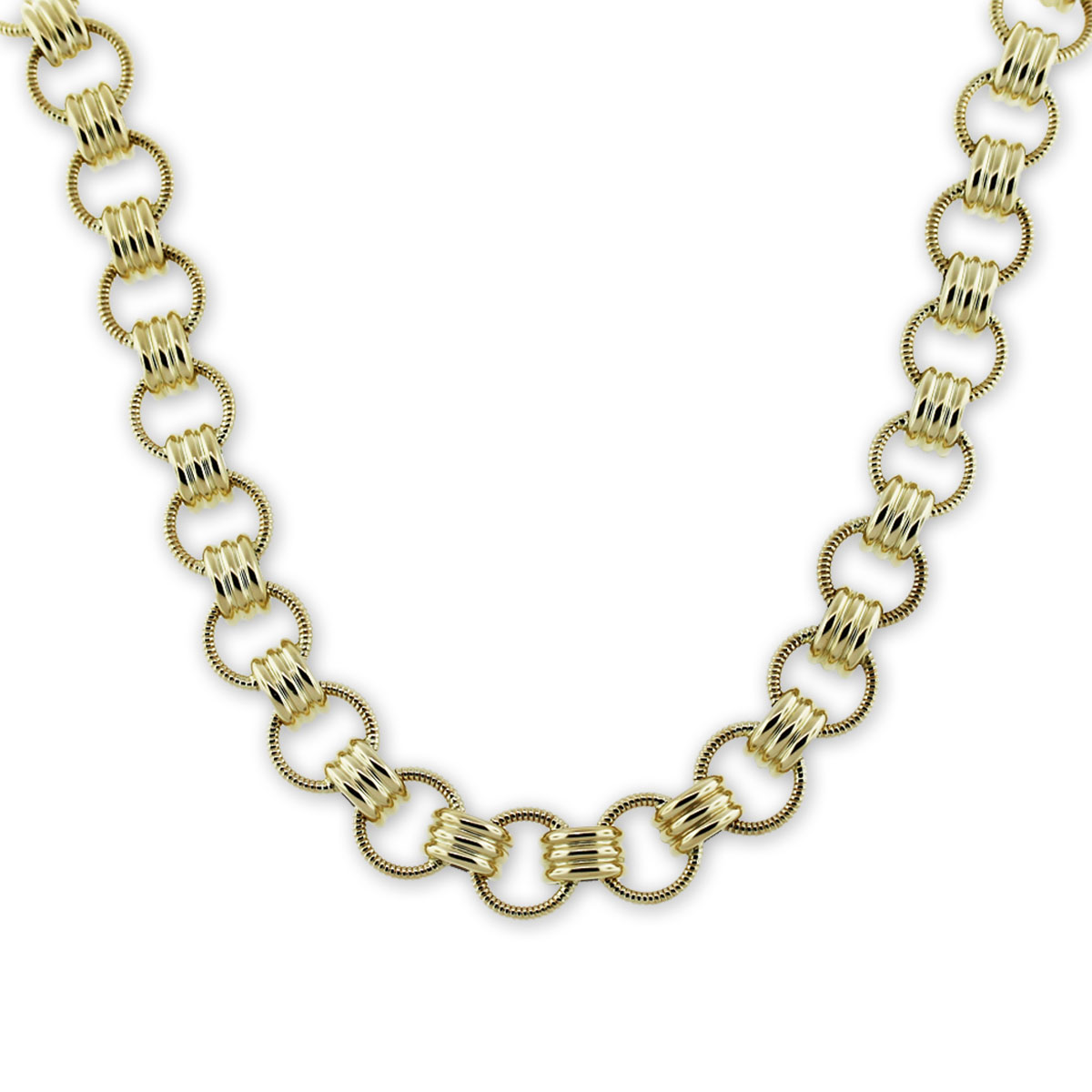 Yellow Gold Large Spring Ring Necklace