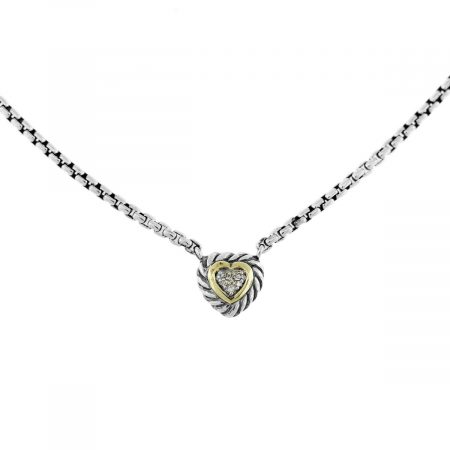David Yurman Cable Diamond Heart Pendant Necklace