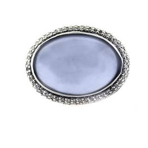 David Yurman Chalcedony and Pave Diamond Sterling Silver Ring