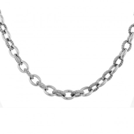 Judith Ripka Diamond Oval Link Necklace 18k Gold and Sterling Silver