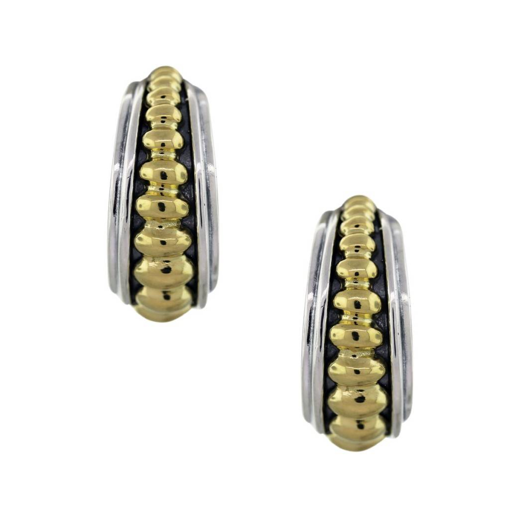 Lagos Caviar Sterling Silver And Yellow Gold Hoop Earrings
