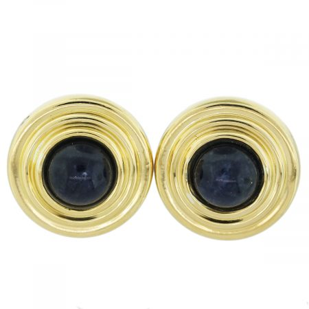Silver and Gold Lapis Lazuli Button Earrings