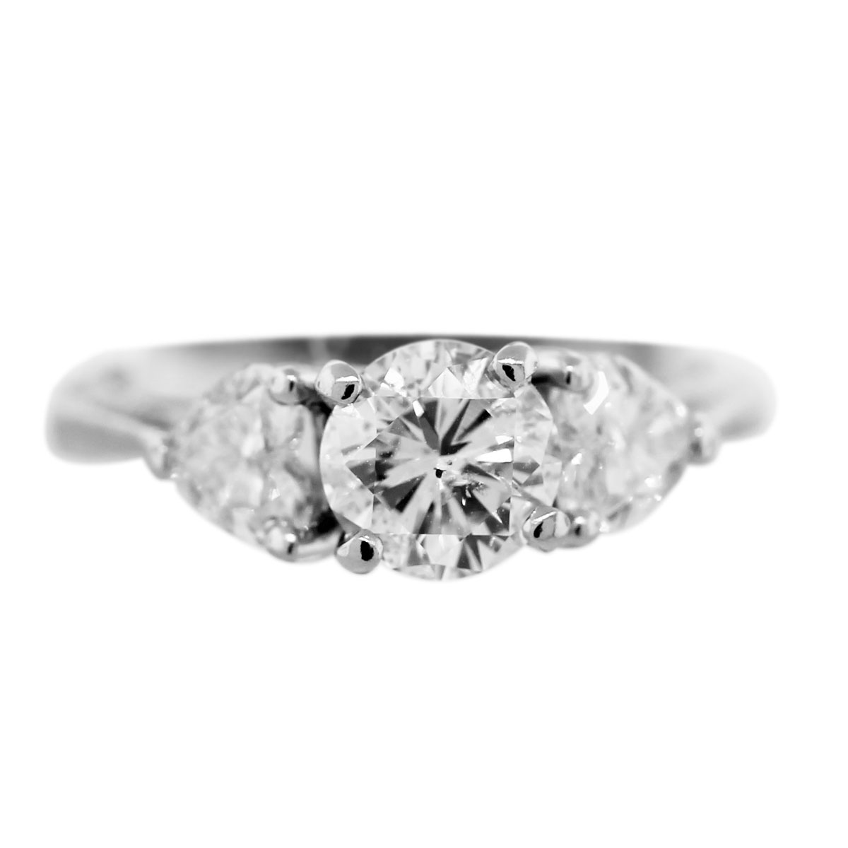 Platinum 3-Stone Diamond Heart Ring