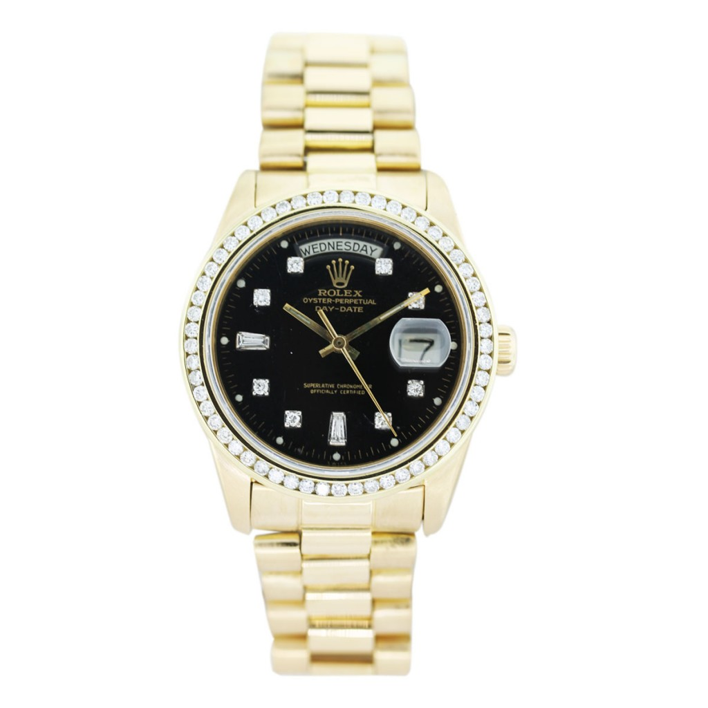 Rolex 18038 18k yellow gold black diamond dial watch boca raton for Diamond dial watch