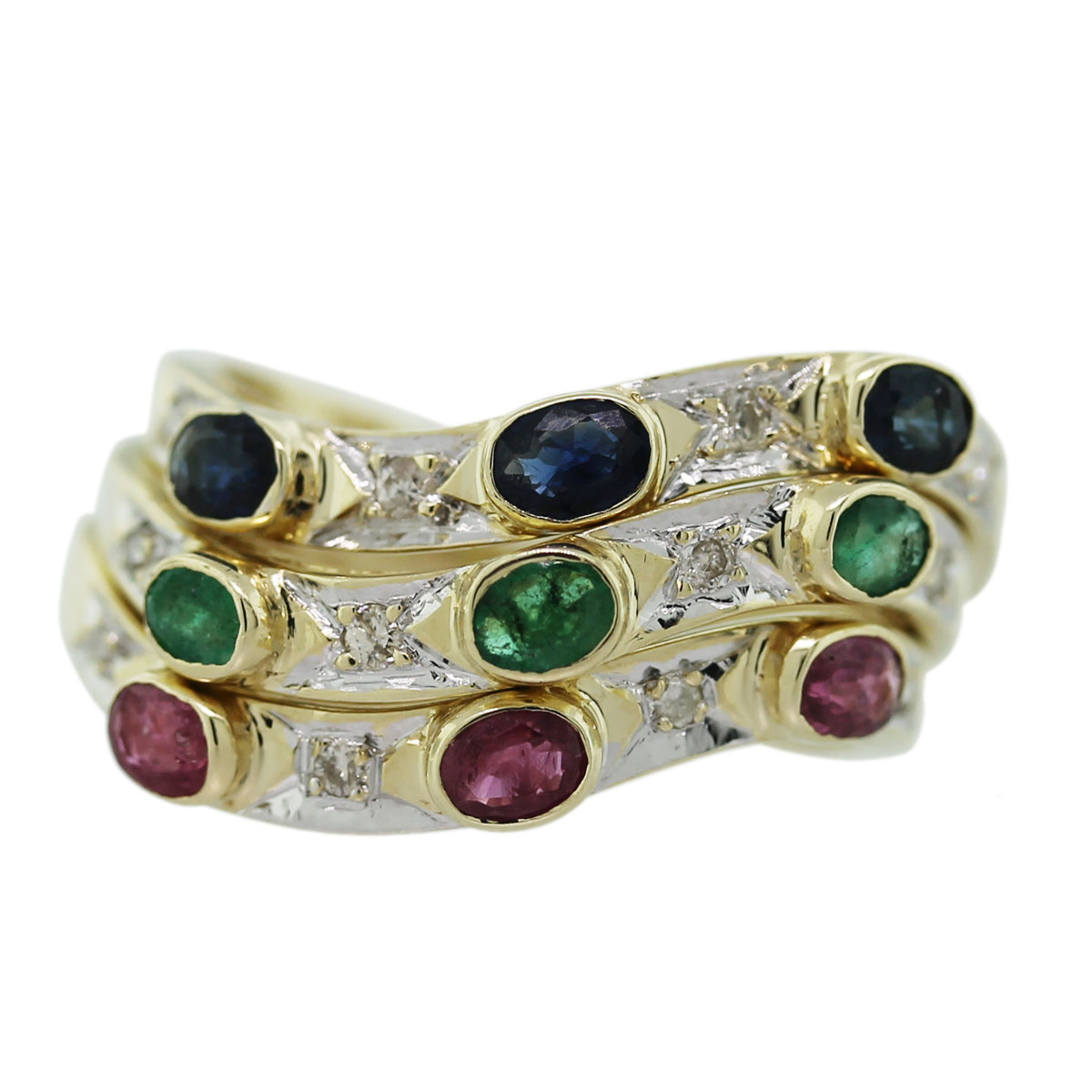 14k Yellow Gold Multi-Stone Diamond Stackable Rings