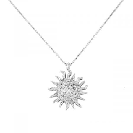 White Gold Diamond Sun Pendant Chain Necklace