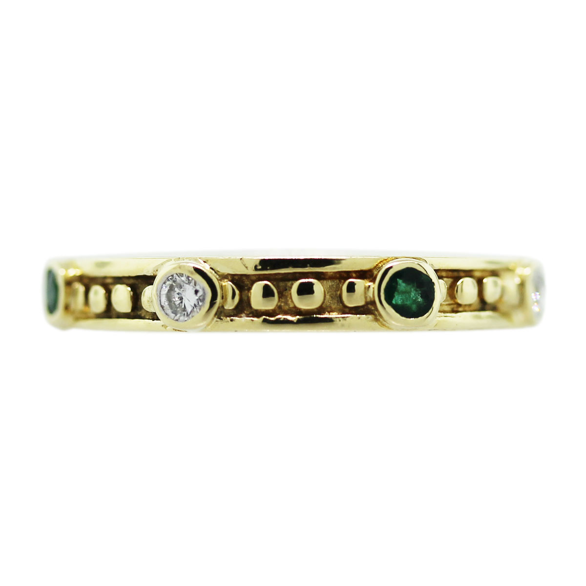 18kt Yellow Gold Diamond Emerald Bezel Set Ring