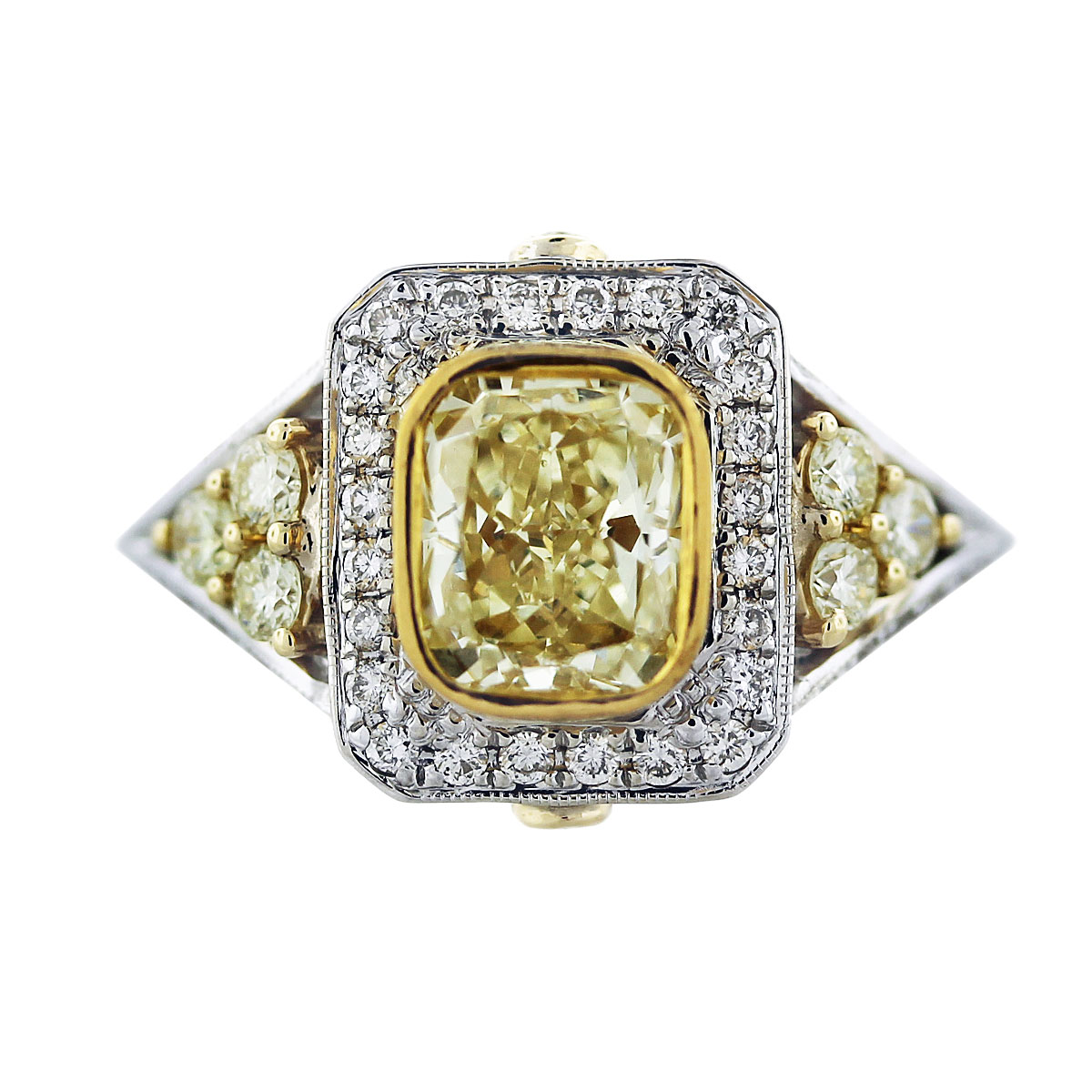cushion cut fancy yellow diamond engagement ring 18k two tone gold. Black Bedroom Furniture Sets. Home Design Ideas