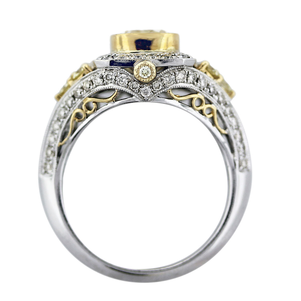 Cushion Cut Fancy Yellow Diamond Engagement Ring 18K Two Tone Gold