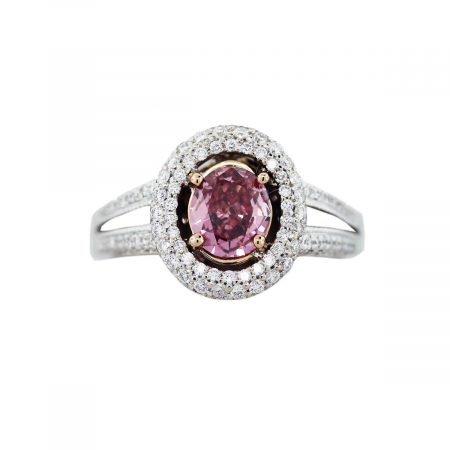 pink oval cut diamond ring