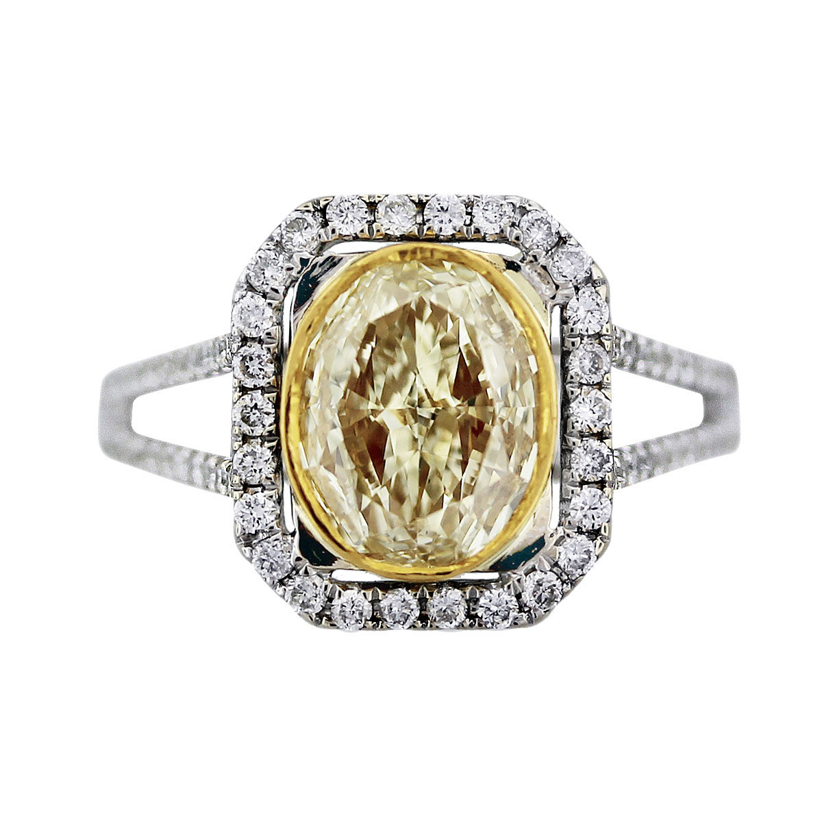 2 ct oval cut fancy yellow diamond engagement ring 18k two tone gold. Black Bedroom Furniture Sets. Home Design Ideas