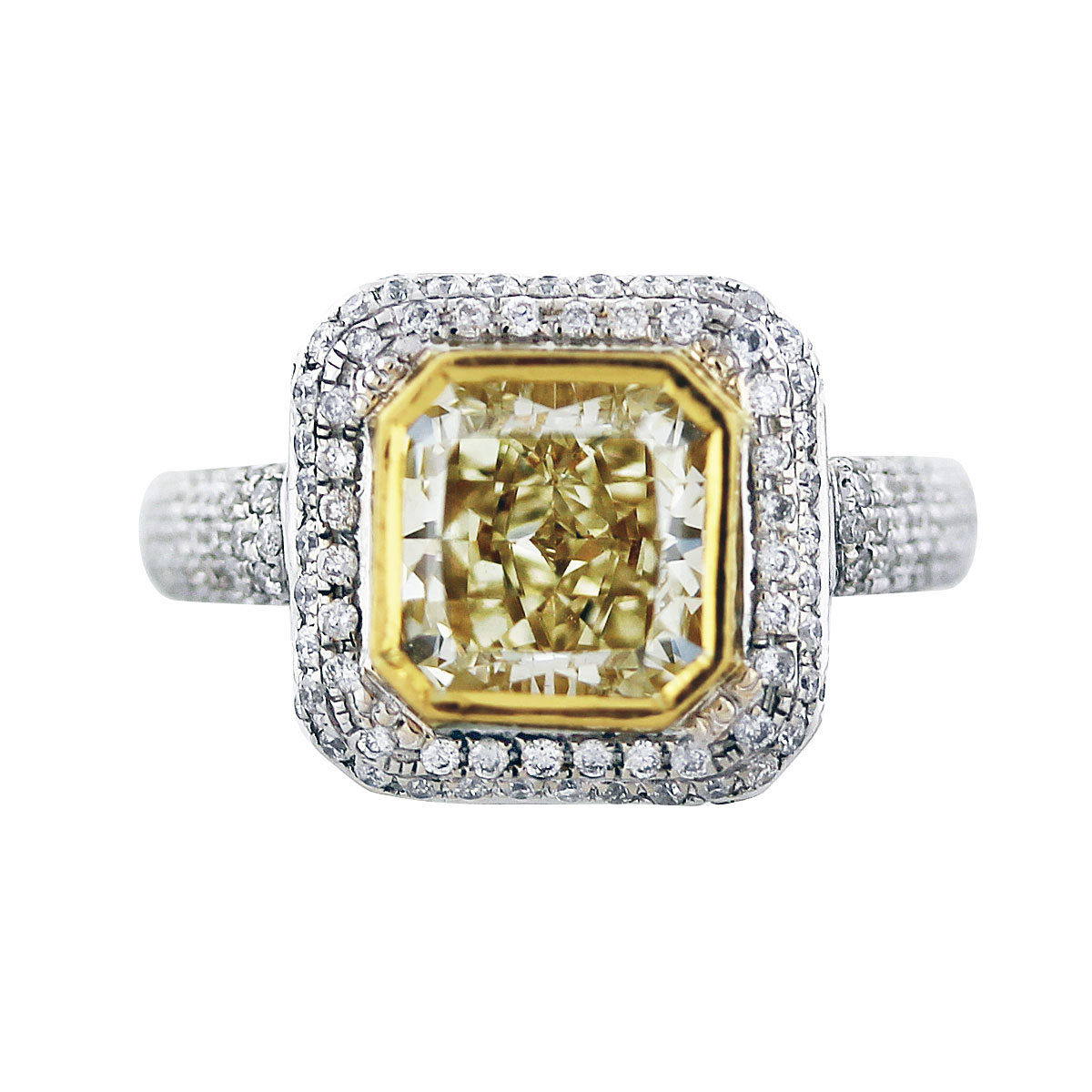 fancy yellow cushion cut diamond engagement ring in 18k two tone gold. Black Bedroom Furniture Sets. Home Design Ideas