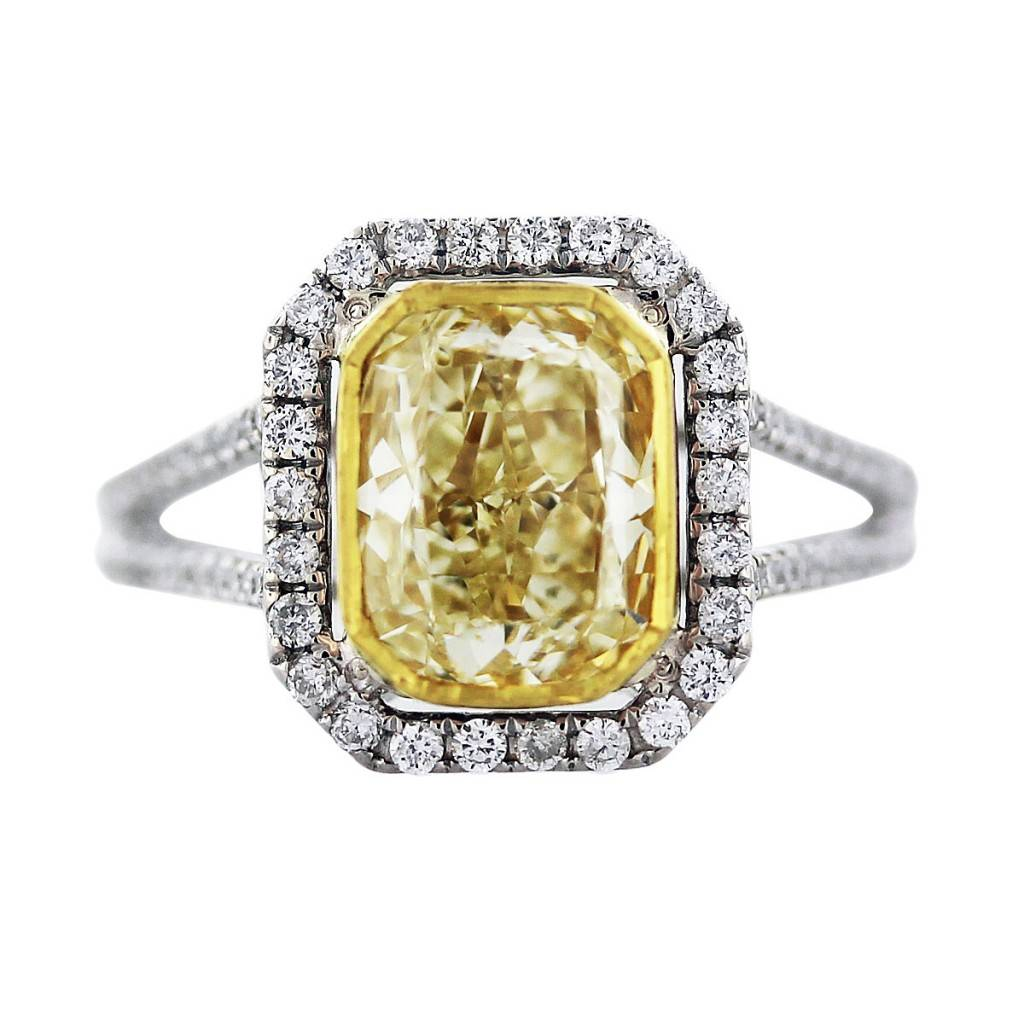 Cushion Cut Fancy Yellow Diamond Engagement Ring in 18K Two Tone Gold