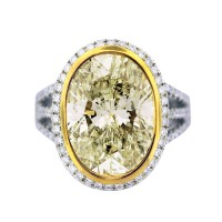 8 Carat Light Fancy Yellow Diamond Engagement Ring 18K Two Tone Gold
