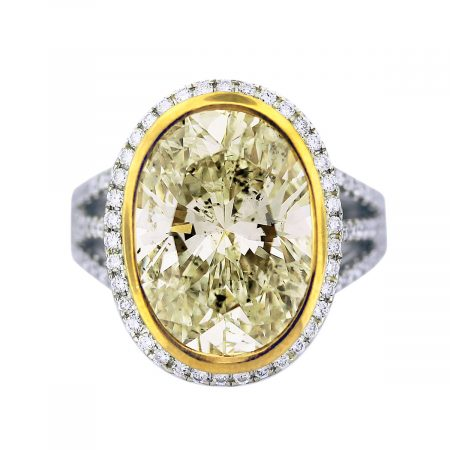 8 carat oval cut yellow diamond engagement ring