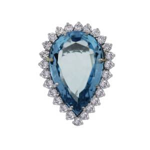 White gold Aquamarine cocktail ring with almost a carat of diamond accents