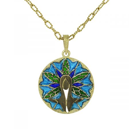 Enamel Pendant on Gold Chain