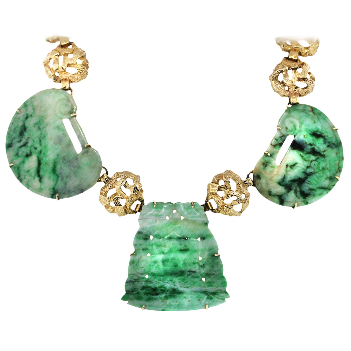 Large Jade Gemstone Statement Necklace
