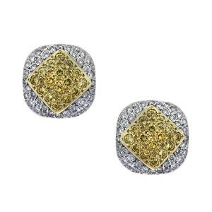 yellow sapphire and white diamond micropave button earrings