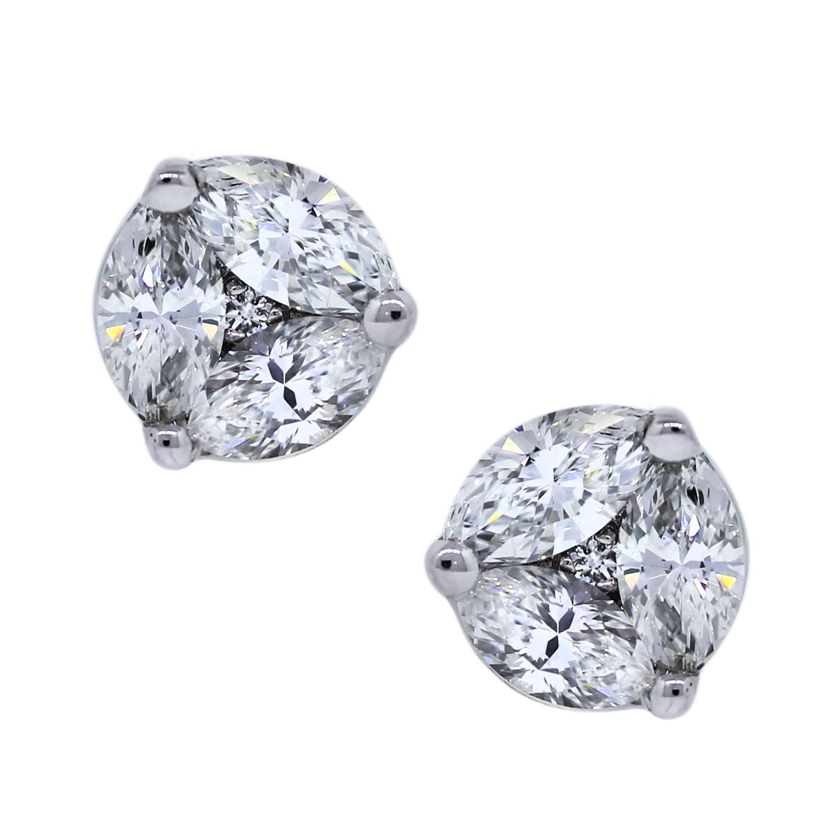 Marquise and Round Briliant Diamond Stud Earrings